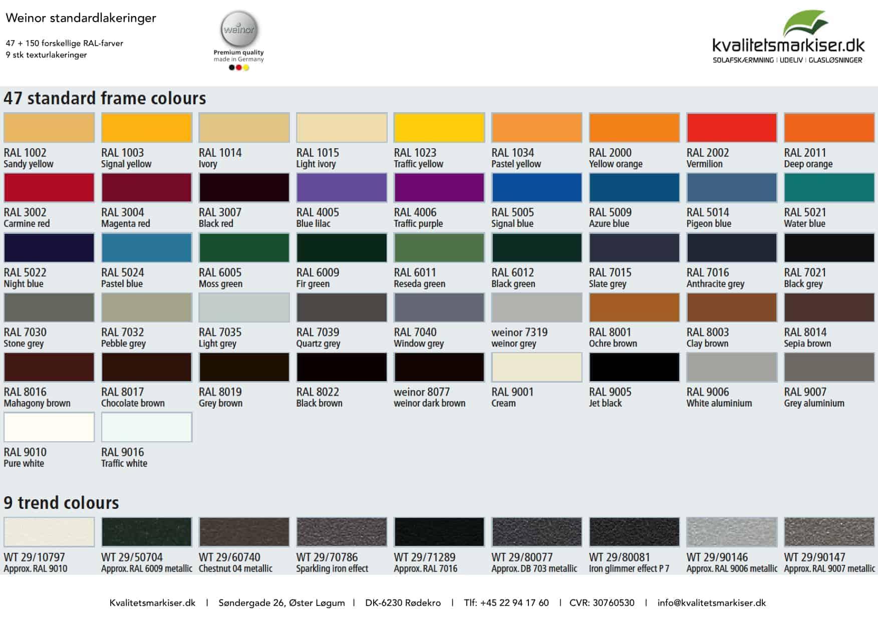 markiser i mange farver