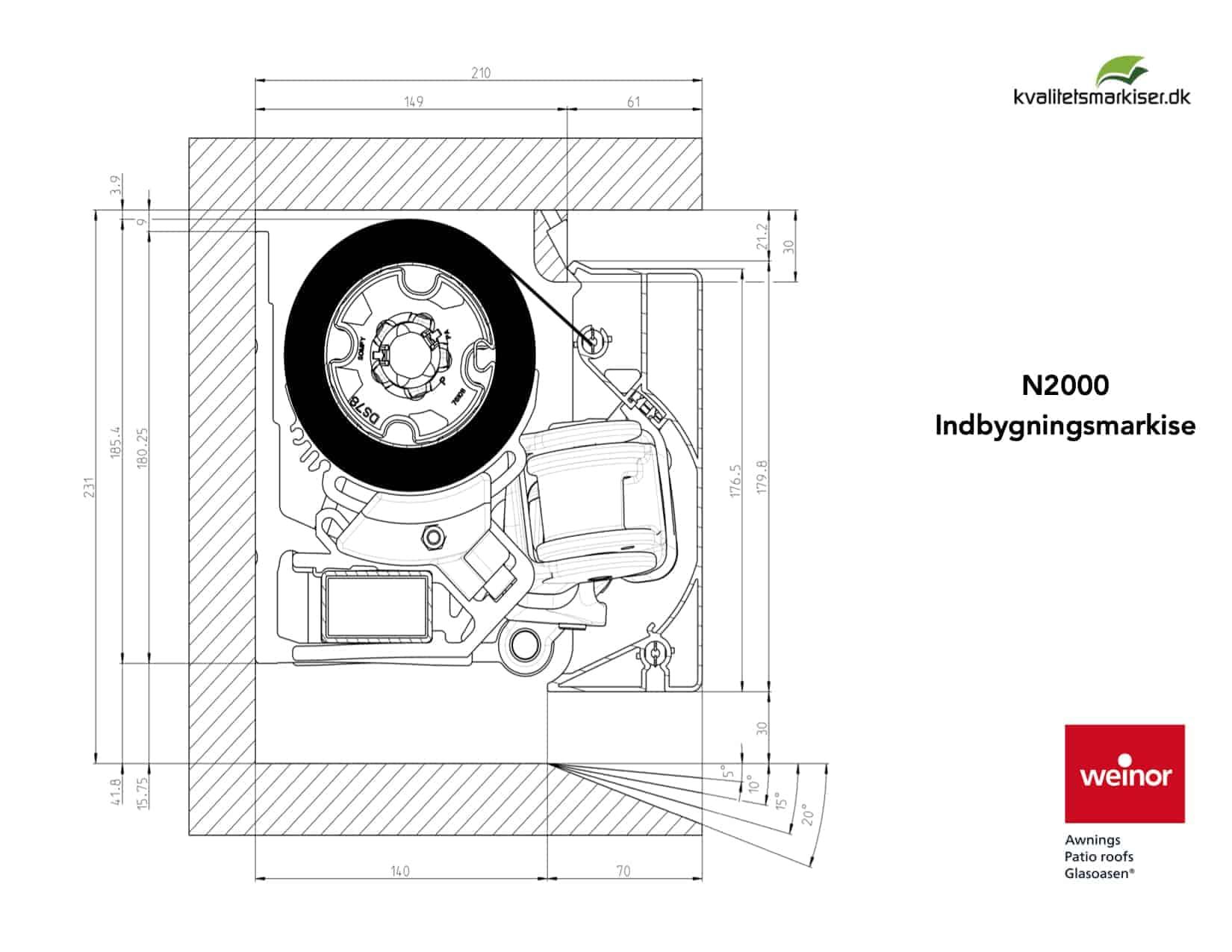 Indbygningsmarkise Weinor N2000