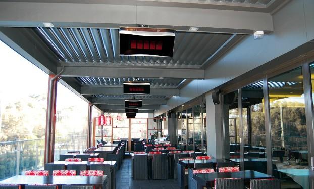 Opvarmning af overdækket terrasse med Bromic varmelampe